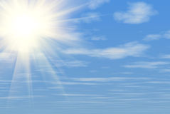 Blue sky and sun background. Great colors royalty free illustration