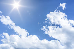 Blue sky sun background Stock Photo
