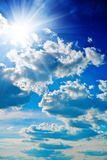Blue sky with sun closely Stock Photo