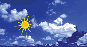 Blue sky with sun and cloud. Art vector background Stock Images