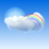 Blue sky with sun, cloud and rainbow Stock Images