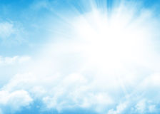 Blue sky, sun and clouds abstract background Stock Images