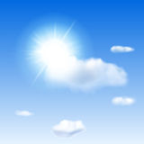 Blue sky with sun and clouds Stock Photography