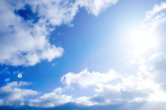 Blue sky and sun conceptual image. Picture of clean summer sky Stock Image