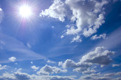 Blue sky and sun conceptual image. Picture of clean summer sky Royalty Free Stock Image