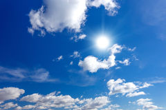 Blue sky with sun Royalty Free Stock Image