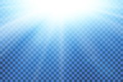 Blue sky sun flare, transparent background. Clear summer nature, sunlight weather. Sunshine glare rays, lens. Light. Sunny spring season. White sunrise, sky vector illustration