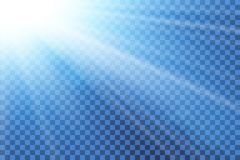Blue sky sun flare, transparent background. Clear summer nature, sunlight weather. Sunshine glare rays, lens. Light. Sunny spring season. White sunrise, sky stock illustration