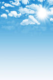 Blue sky with sun. Illustration of a blue sky with clouds and sun vector illustration