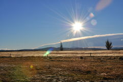 Blue sky and sun light. Clear blue sky and stunning sun light Stock Images