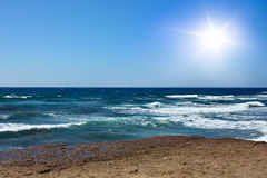Blue sky, sun and ocean Royalty Free Stock Photos