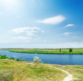 Blue sky and sun over river Royalty Free Stock Images