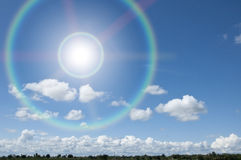Blue sky and sun ray. As cloudy background Stock Photography