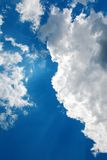 Blue sky and sun rays. Royalty Free Stock Photography
