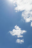 Blue sky with sun rays and cloud Royalty Free Stock Photos