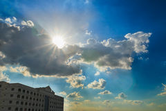 Blue sky with the sun rays Royalty Free Stock Image