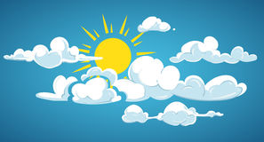 Blue sky, sun and white clouds vector illustration Royalty Free Stock Image