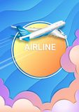 The flight of a passenger airplane. Travel, tourism and business. stock illustration