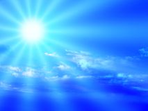 Blue sky and sunbeam. Blue sky, clouds and dramatic sunbeam Stock Images