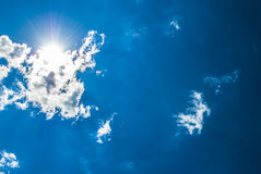 Blue Sky Sunbeams Royalty Free Stock Photography