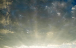 Blue sky and sunrays Royalty Free Stock Image
