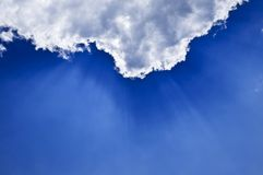 Blue sky with sunrays Stock Photo