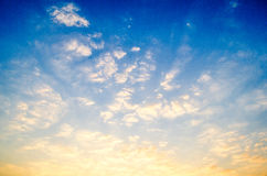 The blue sky with sunrise. Royalty Free Stock Image