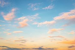 Blue sky in sunset with clound. Vintage effect color filter Stock Images