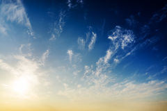 Blue sky and sunset Stock Photography