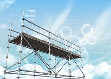 Blue sky with technology interface and 3D Scaffolding Stock Photos