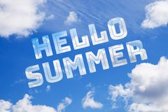 Blue sky with text Hello Summer. Blue summer sky with clouds and Hello Summer Vacation Message Sign Concept vector illustration