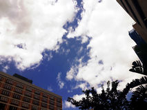 Blue sky with thick clouds and buildings around. Thick white clouds floating on radiant blue sky with buildings and trees around royalty free stock photos