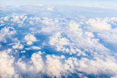 Blue sky. Sky, a top view, view from an aircraft, the air, with clouds Stock Photos