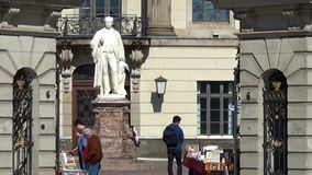 Humboldt University, main building, Germany, Berlin, city district Mitte, Unter den Linden, March 2017. Blue sky of a total view, details like Humboldt-statue stock video