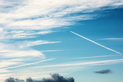 Blue sky and trace of airplane Royalty Free Stock Photos