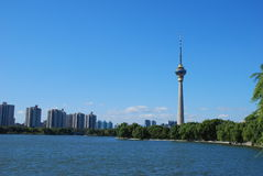 Blue sky and tv tower Royalty Free Stock Photography