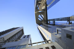Blue sky  and  Umeda Sky Building in Osaka Japan Stock Photo