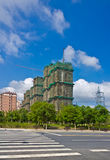 The blue sky under the construction site. The high-rise construction site and baiy Chinese Suzhou blue sky Royalty Free Stock Photography
