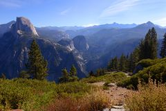 Landscape of yosemite valley with forest and mountain in spring royalty free stock image