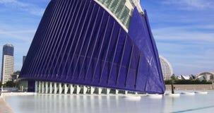 Blue sky valencia city of art aquarium close up 4k spain stock video