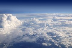 Blue sky view from aircraft airplane Royalty Free Stock Photography