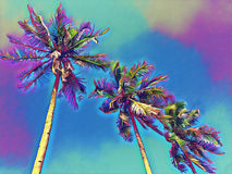 Blue sky view with coco palm trees. Exotic island fantastic digital illustration stock illustration