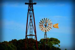 Blue Sky Vintage Windmill Abstract Background Royalty Free Stock Image