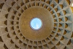 Interior view of roof of Pantheon in Rome royalty free stock photos