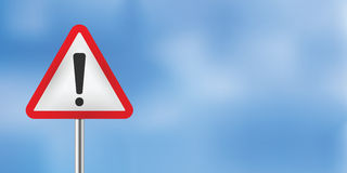 Blue sky warning traffic sign Royalty Free Stock Photos