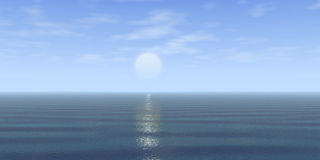 Blue sky and water. Blue sky with clouds and sun and ocean royalty free illustration