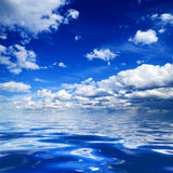 Blue sky and water. Blue sky and rendered water Stock Photos