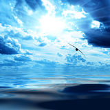 Blue sky and water. In sea Stock Photos