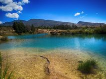 Blue sky and water mirror in green wood mountain lake royalty free stock images