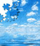 Blue sky with water reflection puzzle. With displaced pieces stock illustration